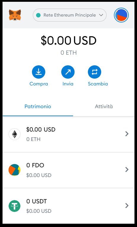 Aggiunto token personalizzato a MetaMask
