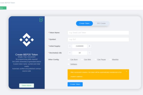 Creazione di un token BEP20 utilizzando Cointool.app