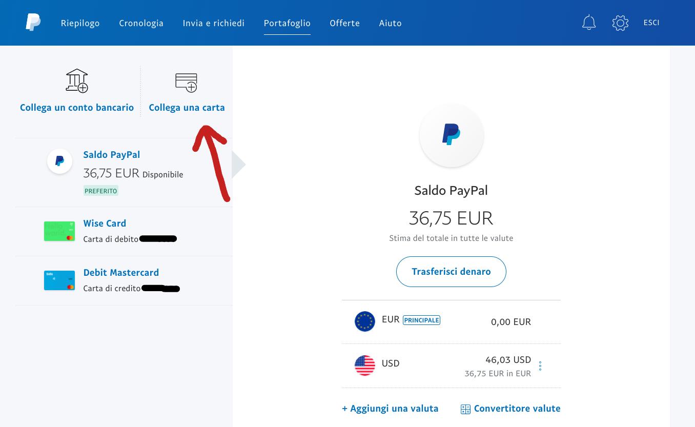 collega una carta a PayPal