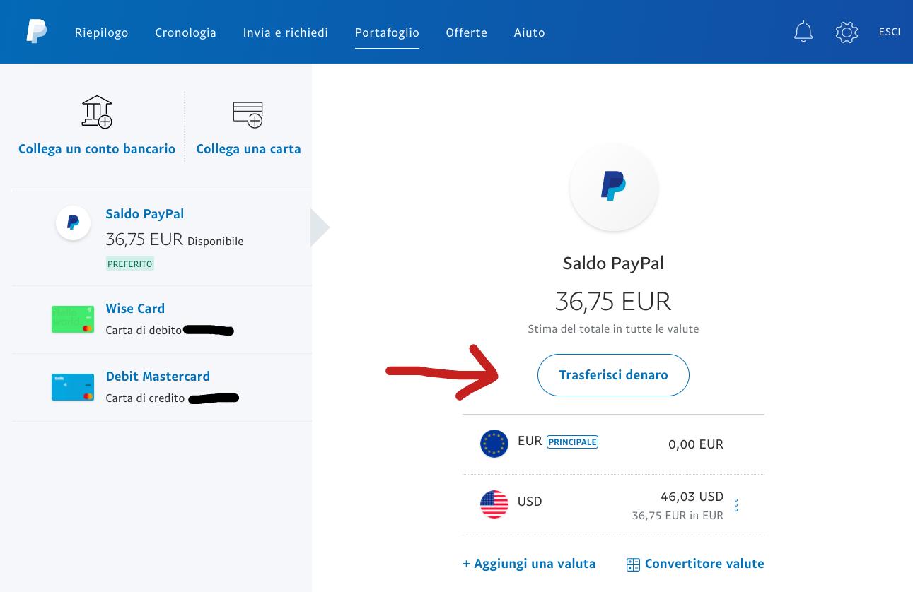 trasferisci denaro da PayPal